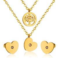 Earrings & Necklace 316L Stainless Steel Tree Of Life Love Jewellery Earring Wedding Set Bridal Jewelry No Fade