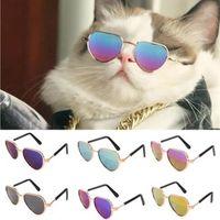 Одежда для собак 1 шт. Прекрасные Pet Cat Очки Товары Китти Игрушки Солнцезащитные очки Po Оснасти Accessoires Форма сердца красочный