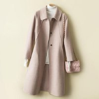 Women's Wool & Blends Double-sided Woolen Coat Twill Doll Collar Long Slim-fit Cashmere Women Fashion Casual Elegant Female Thicken Autumn