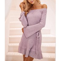 Casual Dresses Women Dress 2021 Fashion Elegant Office Ladies Knitted Long Sleeve Off Shoulder Pink Green Tunic Tricot Sweater Female