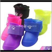 의류 PU 4pcsset 다채로운 antislip 스키드 개 고양이 보호 방수 캔디 색상 강아지 애완 동물 비 휴대용 신발 부츠 zsep8 ola0g