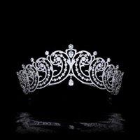 Hair Clips & Barrettes Vintage Wedding Tiara Zircon Bridal Crown Silver Color Diadem Veil Tiaras Accessories Headpieces HQ0496