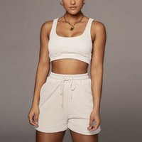 2021 Kırpma Üst Iki Parçalı Şort Pantolon Set Joggers Setleri Kıyafetler 2 Parça Taze Ter Kısa Set Kadın Y0607