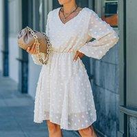 Casual Dresses Foridol Pompom Polka Dot Long Sleeve Women Tulle Autumn Beige Dress Plus Size A-line Winter