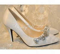 Новое поступление горный хрусталь свадебные туфли белые атласные свадебные туфли круглые носякие туфли на высоком каблуке великолепная вечеринка выпускные туфли на носок подвесную обувь