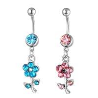 D0598 (2 cores) Botão do estilo da barriga do anel de flor Botão do umbigo Anéis do névoa Piercing Jóias Dangle Acessórios Fashion Charme 10pcs