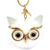 الكرتون الذهب الطيور سلسلة المفاتيح الكبيرة عين البومة الفراء مفتاح حلقة حامل حقيبة معلقة الأزياء والمجوهرات وسترندي أحمر أبيض أسود