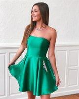 2021 Quinceanera Dress Green Satin Short Skirt Prom Gomn Pocket Back Zipper Party