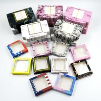 100pcs a lot false eyelash packaging Square paper box many styles and colors for option lash cases 25 mm mink eyelashe with tray packing separately