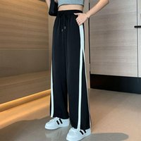Women's Pants & Capris Casual Pant Woman Sports Striped High Waist Wide-leg Women Black White Straight Loose Mopping Trousers Clothes