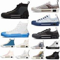 2021 Diseñador Mujeres Casual Zapatos Zapatillas de deporte Obliques Obliques Hombres Cuero Técnico High Low B23 Flores Plataforma Al Aire Libre Vintage con caja