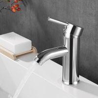 Torneiras da pia do banheiro Haliaeetus Chrome-banhado à torneira moderna e água fria misturando a torneira de bacia de punho de buraco único