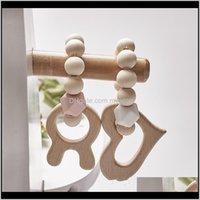 Other Feeding 4 Wooden Sile Beads Teething Wood Rattles Baby Cartoon Animal Teether Bracelets Nursing Toys 582 Tx J7Doh