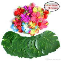 Искусственные тропические пальмовые листья и шелковый гибискус Цветы вечеринка Декор Monstera Листья Гавайская Луаун Джунгли Пляж Тема Партии Украшения