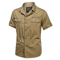 Men's Casual Shirts 2021 Mens 100% Cotton Military Dress Short Sleeve Slim Tops Work Shirt Male Solid Summer Trendy Chest Pocket 4XL