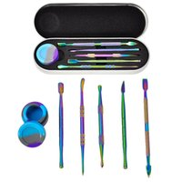 5pcs set Rainbow Stainless Steel Wax Carving Dabber Tool Smoking Accessories Shisha Bong Cleaner with 5ml Silicone Container Jar Nail Polisher Dab Kit
