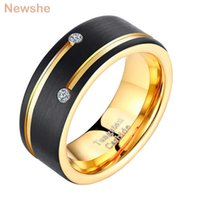 she Mens Tungsten Carbide Ring Black and Golden Color 8mm Wedding Band Men AAA Cubic Zirconia Jewelry Size 9-13 TRX044