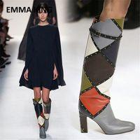 2019 новая мода смешанный цвет колена высокие ботинки такон обуви пряжка украшенные смеси цвет кожаные геометрические высокие каблуки женские сапоги сексуальные ботинки S9kw #
