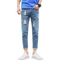 Streetwear Moda Vintage Losse Yıkılan Rendelenmiş Sokak Broek İlkbahar Yaz Erkekler Için Hiphop Tek Uzun Kot