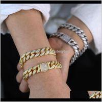 Charm Jewelryfashion Gorgeous Gold Sier Color Heavy Iced Out Bling Cz Cuban Chain Men 16Cm 18Cm Hip Hop Jewlery Bracelets Drop Delivery 2021