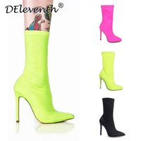 Women Shoes Pointed Toe Elastic Boots Candy Color Cloth High Heel Socks Thin Heels Pumps Size 35-43