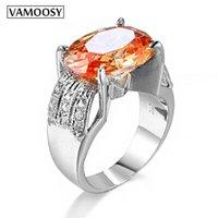 Anneaux de mariage Vamoosy Incroyable grand champagne CZ Stone Grand Single Ovale Orange Cristal Coupe Argent De Luxe Silver Couleur Femme Déclaration Anneau