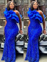 2021 Plus Size Arabic Aso Ebi Royal Blue Mermaid Prom Dresses Lace Beaded One Shoulder Evening Formal Party Second Reception Gowns Dress ZJ630