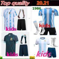 Kit kit 2019 2020 copa américa argentina casa futebol jersey 1986 maradona camisetas de futbol messi dybala camisa de futebol uniforme