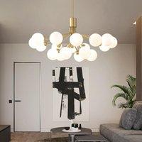 Chandeliers Nordic Led Lighting Black Gold Living Room Kitchen Lamp Magic Bean Glass Ceiling Chandelier For Bedroom Luminarias