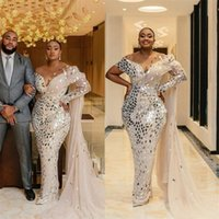 Luxury Dubai Mermaid Wedding Dress Arabic Beads Sequins Bridal Gowns Ruched Tulle Sweep Train Custom Made Beach Robe De Mariée