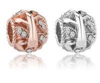Fit Pandora Charm Bractele Rose Gold Древо жизни Серебряная эмаль подвески кулон 925 серебряная свита DIY ювелирные изделия европейские змеиные цепи ожерелье