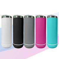 Straight 20oz Bluetooth Tumbler Double mur en acier inoxydable Smart Haut-parleurs sans fil Music Gumblers Personnalisé Logo Cadeau personnalisé avec paille et brosse en métal