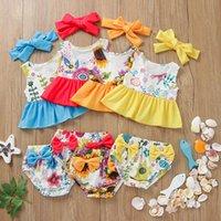 어린이 2 조각 의류 꽃 해바라기 인쇄 수영 꽃 인쇄 수영복 아기 소녀 프릴 수영복 여름 패션 키즈 Bikinis Z3191