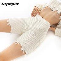 GTPDPLLT Высокая талия 2021 Белые шорты Байкер Женщины вязаные Сексуальные Базовые Мода Черный Случайные Пот Бодикон Летние Хлопок Женщины