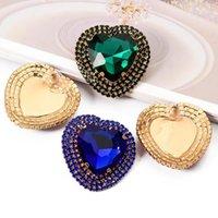 Colorful Crystal Heart Dangle Earring Statement Rhinestone Handmade Drop Stud Earrings Jewelry Accessories for Women Ear Ring