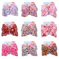 Neonate Bow Mermaid Clover Flamingo Stampa Accessori per capelli Barrettes Bambini 8 pollici Capelli copricapo Archi con clip 239 Z2