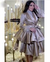 Champagne Cocktail Party evening Dresses 2022 With Long Sleeve Feather arabic Knee Length Tiered Brown Short shirt top Prom Dress