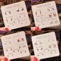 Designer Earrings Luxury Jewelry 7Pairs Set Crystal Heart Leaves Stud For Women Charm Rhinestone Small Pearl Set Girls Gifts Brincos