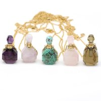 Pendant Necklaces Natural Perfume Bottle Crystal Stone Necklace Jades Rose Quartzs Essential Oil Diffuser Charm Copper Chain Jewelry