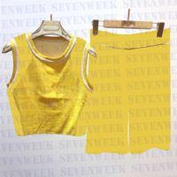 Damen strickt weste shorts zwei stück set mode trainingsanzüge sommer ärmellose tops frauen kleidung