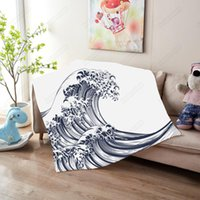 Blankets An Oriental Japanese Great Wave Style Sherpa Blanket For Beds Velvet Plush Throw Soft Bedding 1pc Manta