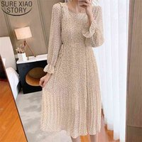 Vintage Dot Print Dress Plus Size es Office Lady A-line Apricot Long Sleeve Chiffon Pleated Women Square Collar 11587 210510