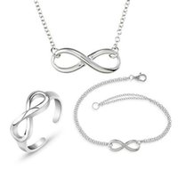 Earrings & Necklace MIQIAO Silver Plated 8 Number Infinity Vintage Bangle Bracelet Pendant Ring Jewelry Set For Womem Wedding Couple Gift