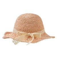 Bebé arco sombrero de paja infantil ancho al borde del sol de la princesa de la princesa de la playa de la playa de la playa de la playa Q9QB gorras gorras
