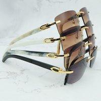 Vintage Square Buffs Mens Rimless Glasses Buffalo Designer Genuine Sunglasses Horn Glass Brand Luxury Carters Carter TSWE Qlitm