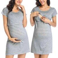 2021 Manga Curta Listrada Multifuncional Maternidade Vestidos Mãe Vestido de Amamentação Roupas de Enfermagem Q0209