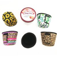 Neoprene Ice Cream Cover Case Leopard, Sunflower,Cactus Print Can Cooler Covers Ice Cream Holder Pouch Tools LLF10413