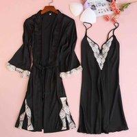 Women's Sleepwear Satin Loose Summer Intimate Lingerie Bathrobe Gown 2PCS Robe Set Women Nightwear Sexy Short Home Clothing Lace