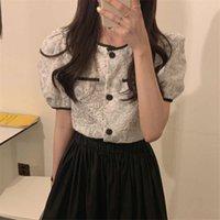 2020 New Summer Single-breasted Blouses Women Korean Style Elegant Vintage Contrast Color Shirt Crop Tops