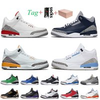 nike air jordan 3 3s jordan retro 3 stock x Sneaker Com caixa jumpman 3 3s sapatos de basquete III Katrina Georgetown Retro Laser Laranja UNC Cinza Cinza Tinker Preto